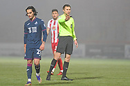 Referee Michael Salisbury during the FA Cup match between Stevenage and Swansea City at the Lamex Stadium, Stevenage, England on 9 January 2021.