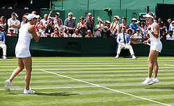 LONDON, July 4, 2018  Ana Bogdan (R) of Romania and Kaitlyn Christian of the United States celebrate after the women's doubles first round match against Duan Yingying of China and Aliaksandra Sasnovich of Belarus at the Wimbledon Tennis Championships in London, Britain on July 4, 2018. Ana Bogdan and Kaitlyn Christian won 2-0. (Credit Image: © Shi Tang/Xinhua via ZUMA Wire)