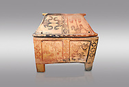 Minoan  pottery gabled larnax coffin chest with bird and papyrus decorations,   1300-1200 BC, Heraklion Archaeological  Museum, grey background. .<br /> <br /> If you prefer to buy from our ALAMY PHOTO LIBRARY  Collection visit : https://www.alamy.com/portfolio/paul-williams-funkystock/minoan-art-artefacts.html . Type -   Heraklion   - into the LOWER SEARCH WITHIN GALLERY box. Refine search by adding background colour, place, museum etc<br /> <br /> Visit our MINOAN ART PHOTO COLLECTIONS for more photos to download  as wall art prints https://funkystock.photoshelter.com/gallery-collection/Ancient-Minoans-Art-Artefacts-Antiquities-Historic-Places-Pictures-Images-of/C0000ricT2SU_M9w