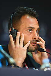 CARDIFF, WALES - Tuesday, August 12, 2014: Sevilla's goalkeeper Beto during a press conference ahead of the UEFA Super Cup at Cardiff City Stadium.  (Pic by Pool/Getty Images/Propaganda)