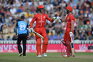Keaton Jennings and Dane Villas of Lancashire Lightning after hitting a boundary off the bowling of Daryl Mitchell during the Vitality T20 Finals Day Semi Final 2018 match between Worcestershire Rapids and Lancashire Lightning at Edgbaston, Birmingham, United Kingdom on 15 September 2018.