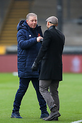 Darlington manager Alun Armstrong greets Bristol Rovers manager Paul Tisdale - Rogan/JMP - 30/11/2020 - FOOTBALL - Memorial Stadium - Bristol, England - Bristol Rovers v Darlington - FA Cup Second Round Proper.