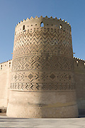 The southeastern tower of The Arg of Karim Khan having partially subsided into the underground sewerage system that served the Args bathhouse
