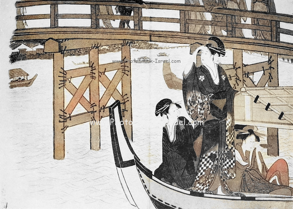 Machine colourised (AI) Girls in Pleasure Boats From the book ' The story of the geisha girl ' by Taizo Fujimoto, Published in London by T. Werner Laurie
