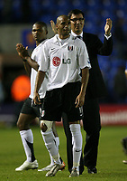 Photo: Rich Eaton.<br /> <br /> Shrewsbury Town v Fulham. Carling Cup. 28/08/2007. Fulham manager Lawrie Sanchez (r) and goalscorer Diomansy Kamara applaud the fans at the end of the game.