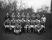Irish Rugby Football Union, Ireland v Wales, Five Nations, Landsdowne Road,  Dublin, Ireland, Saturday 13th March, 1954,.13.3.1954, 3.13.1954,..Referee- A W C Austin, Scottish Rugby Union, ..Score- Ireland 9 - 12 Wales,..Irish Team, ..P Berkery, Wearing number 15 Irish jersey, Full back, Landsdowne Rugby Football Club, Dublin, Ireland,..M Mortell, Wearing number 14 Irish jersey, Right wing, Bective Rangers Rugby Football Club, Dublin, Ireland, ..N J Henderson, Wearing number 13 Irish jersey, Right centre, N.I.F.C, Rugby Football Club, Belfast, Northern Ireland,..R P Godfrey, Wearing number 12 Irish jersey, Left Centre, University College Dublin Rugby Football Club, Dublin, Ireland,..J T Gaston, Wearing number 11 Irish jersey, Left wing, Dublin University Rugby Football Club, Dublin, Ireland, ..S Kelly, Wearing number 10 Irish jersey, Stand Off, Landsdowne Rugby Football Club, Dublin, Ireland, ..J A O'Meara, Wearing number 9 Irish jersey, Scrum half, Dolphin Rugby Football Club, Cork, Ireland, ..J H Smith, Wearing number 1 Irish jersey, Forward,  London Irish Rugby Football Club, Surrey, England, ..R Roe, Wearing number 2 Irish jersey, Forward, Dublin University Rugby Football Club, Dublin, Ireland,..F E Anderson, Wearing number 3 Irish jersey, Forward, Queens University Rugby Football Club, Belfast, Northern Ireland,..J R Brady, Wearing number 4 Irish jersey, Forward, C I Y M S Rugby Football Club, Belfast, Northern Ireland, ..R H Thompson, Wearing number 5 Irish jersey, Forward, Instonians Rugby Football Club, Belfast, Northern Ireland, ..J S McCarthy, Wearing number 6 Irish jersey, Captain of the Irish team, Forward, Dolphin Rugby Football Club, Cork, Ireland, ..R Kavanagh, Wearing number 7 Irish jersey, Forward, Wanderers Rugby Football Club, Dublin, Ireland, ..G Reidy, Wearing number 8 Irish jersey, Forward, Dolphin Rugby Football Club, Cork, Ireland, and, Landsdowne Rugby Football Club, Dublin, Ireland,