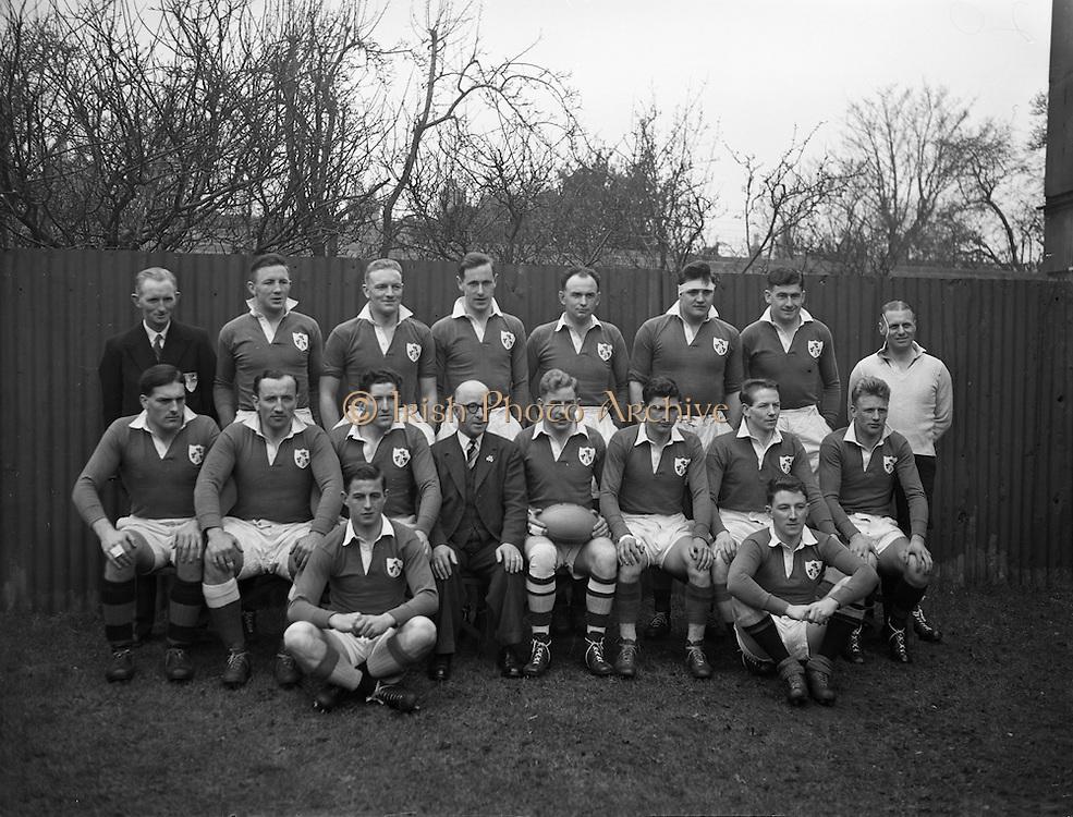 Irish Rugby Football Union, Ireland v Wales, Five Nations, Landsdowne Road,  Dublin, Ireland, Saturday 13th March, 1954,.13.3.1954, 3.13.1954,..Referee- A W C Austin, Scottish Rugby Union, ..Score- Ireland 9 - 12 Wales,..Irish Team, ..P Berkery, Wearing number 15 Irish jersey, Full back, Landsdowne Rugby Football Club, Dublin, Ireland,..M Mortell, Wearing number 14 Irish jersey, Right wing, Bective Rangers Rugby Football Club, Dublin, Ireland, ..N J Henderson, Wearing number 13 Irish jersey, Right centre, N.I.F.C, Rugby Football Club, Belfast, Northern Ireland,..R P Godfrey, Wearing number 12 Irish jersey, Left Centre, University College Dublin Rugby Football Club, Dublin, Ireland,..J T Gaston, Wearing number 11 Irish jersey, Left wing, Dublin University Rugby Football Club, Dublin, Ireland, ..S Kelly, Wearing number 10 Irish jersey, Stand Off, Landsdowne Rugby Football Club, Dublin, Ireland, ..J A O'Meara, Wearing number 9 Irish jersey, Scrum half, Dolphin Rugby Football Club, Cork, Ireland, ..J H Smith, Wearing number 1 Irish jersey, Forward,  London Irish Rugby Football Club, Surrey, England, ..R Roe, Wearing number 2 Irish jersey, Forward, Dublin University Rugby Football Club, Dublin, Ireland,..F E Anderson, Wearing number 3 Irish jersey, Forward, Queens University Rugby Football Club, Belfast, Northern Ireland,..J R Brady, Wearing number 4 Irish jersey, Forward, C I Y M S Rugby Football Club, Belfast, Northern Ireland, ..R H Thompson, Wearing number 5 Irish jersey, Forward, Instonians Rugby Football Club, Belfast, Northern Ireland, ..J S McCarthy, Wearing number 6 Irish jersey, Captain of the Irish team, Forward, Dolphin Rugby Football Club, Cork, Ireland, ..R Kavanagh, Wearing number 7 Irish jersey, Forward, Wanderers Rugby Football Club, Dublin, Ireland, ..G Reidy, Wearing number 8 Irish jersey, Forward, Dolphin Rugby Football Club, Cork, Ireland, and, Landsdowne Rugby Football Club, Dublin, Ireland,