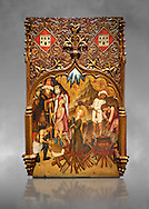 Gothic altarpiece tableau of the Archangel Gabriel  by Joan Mates of Vlafranca de Penedes, circa 1410-1430, tempera and gold leaf on for wood from the church of Santa Maria de Penafel, Alt Penedes, Spain.  National Museum of Catalan Art, Barcelona, Spain, inv no: MNAC  214533. Against a grey art background. . .<br /> <br /> If you prefer you can also buy from our ALAMY PHOTO LIBRARY  Collection visit : https://www.alamy.com/portfolio/paul-williams-funkystock/gothic-art-antiquities.html  Type -     MANAC    - into the LOWER SEARCH WITHIN GALLERY box. Refine search by adding background colour, place, museum etc<br /> <br /> Visit our MEDIEVAL GOTHIC ART PHOTO COLLECTIONS for more   photos  to download or buy as prints https://funkystock.photoshelter.com/gallery-collection/Medieval-Gothic-Art-Antiquities-Historic-Sites-Pictures-Images-of/C0000gZ8POl_DCqE