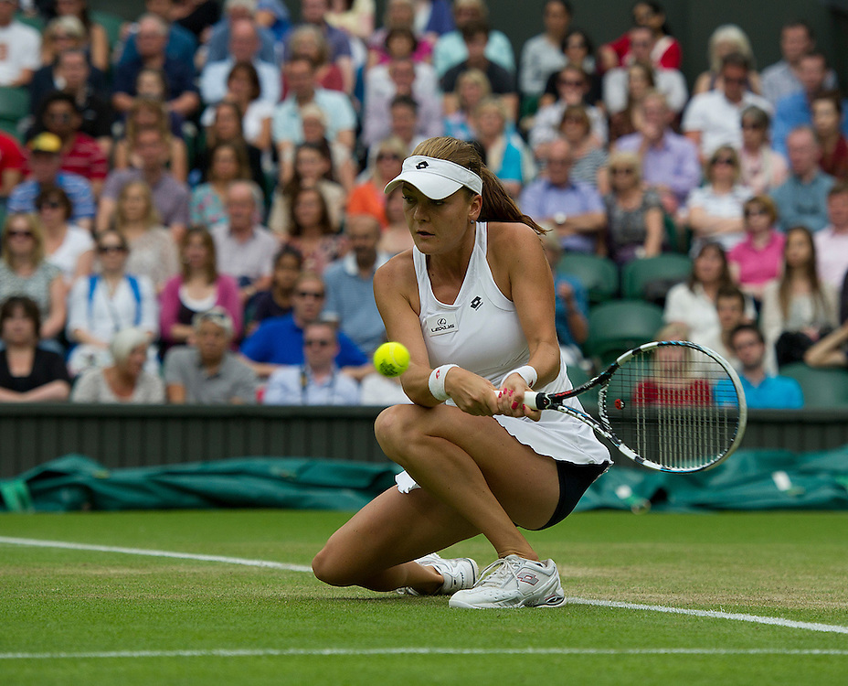 Agnieszka Radwanska POL (3) in action today during her victory over Heather Watson GBR in their Ladies' Singles Third Round match - Agnieszka Radwanska POL (3) def Heather Watson GBR 6-0 6-2..Tennis - Wimbledon Lawn Tennis Championships - Day 5 - Friday 29th June 2012 -  All England Lawn Tennis Club - Wimbledon - London - England...