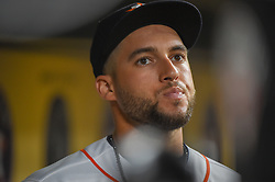 May 1, 2018 - Houston, TX, U.S. - HOUSTON, TX - MAY 01: Houston Astros outfielder George Springer (4) prepares to enter the field before the baseball game between the New York Yankees and Houston Astros on May 1, 2018 at Minute Maid Park in Houston, Texas (Photo by Ken Murray/Icon Sportswire) (Credit Image: © Ken Murray/Icon SMI via ZUMA Press)
