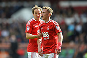 Nottingham Forest midfielder Ben Osborn (11) and Nottingham Forest midfielder David Vaughan (24) make a wall ahead of a Blackburn free kick during the EFL Sky Bet Championship match between Nottingham Forest and Blackburn Rovers at the City Ground, Nottingham, England on 14 April 2017. Photo by Jon Hobley.