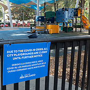 Lake Eola Park playgrounds remain closed due to the Coronavirus (Covid-19) outbreak on Tuesday, July 14, 2020 in Orlando, Florida. There are  292,000 confirmed positive cases in Florida according to the Florida Department of Health with a current death toll of 4,409. (Alex Menendez via AP)
