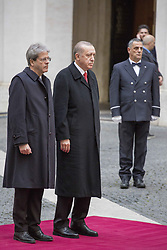 February 5, 2018 - Rome, Italy - Italy's Prime minister Paolo Gentiloni (L) welcomes Turkey's President Recep Tayyip Erdogan on February 5, 2018 at the Chigi Palace in Rome. Turkish President Recep Tayyip Erdogan Monday morning  met Pope Francis  with a protest ban imposed in central Rome as feelings run high over Turkey's offensive against Kurdish militia inside Syria. (Credit Image: © Christian Minelli/NurPhoto via ZUMA Press)