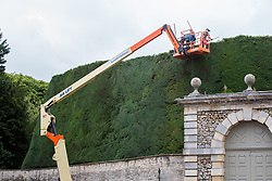 © Licensed to London News Pictures 20/08/2018, Cirenecester, UK - Workers from the Bathurst Estate, Cirencester use a cherry picker to give the estates 40ft high, 300 year old Yew hedge it's annual trim. The hedge is said to be the largest of it's kind in the world and it can take up to 2 weeks to complete the job. Photo Credit : Stephen Shepherd/LNP