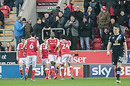 Ratherham players celebrate taking the lead in front of their fans. Jon Taylor (Rotherham United) scores to make it 1-0 to the home side during the EFL Sky Bet Championship match between Rotherham United and Blackburn Rovers at the AESSEAL New York Stadium, Rotherham, England on 11 February 2017. Photo by Mark P Doherty.