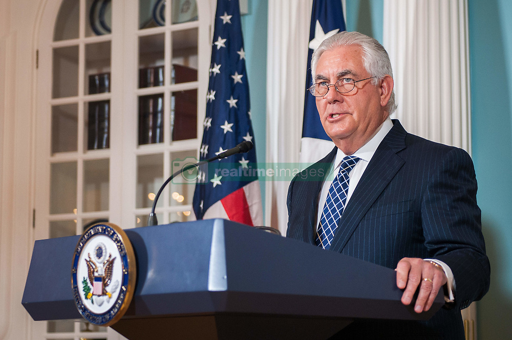 August 15, 2017 - Washington, DC, United States of America - U.S. Secretary of State Rex Tillerson delivers remarks during the release of the annual accounting of religious persecution around the world at the Department of State August 15, 2017 in Washington, D.C. The report criticized the Islamic State for persecution of religious minorities but made no mention of the rise in attacks against Muslims in the United States. (Credit Image: © Glen Johnson/Planet Pix via ZUMA Wire)