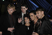 Sharon Osborne and Franz Ferdinand bandmembers , The 7th GQ Man of the Year Awards, Royal Opera House. 7 September 2004. In association with Armani Mania. SUPPLIED FOR ONE-TIME USE ONLY-DO NOT ARCHIVE. © Copyright Photograph by Dafydd Jones 66 Stockwell Park Rd. London SW9 0DA Tel 020 7733 0108 www.dafjones.com