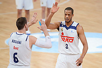 Real Madrid's Andres Nocioni and Anthony Randolph during Semi Finals match of 2017 King's Cup at Fernando Buesa Arena in Vitoria, Spain. February 18, 2017. (ALTERPHOTOS/BorjaB.Hojas)