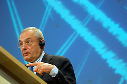 BRUSSELS, BELGIUM - MARCH-22-2006 - Jacques Barrot European Commissioner of Transportation speaks during a press conference about the new European Black List for airlines that do not conform to European safety standards. (PHOTO © JOCK FISTICK)
