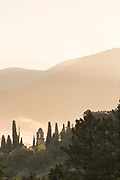 Sunset over mountains and tower between trees, Corte, Corsica, France