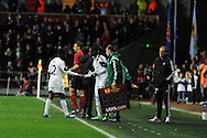 Swansea city's Nathan Dyer is injured and is replaced by sub Marvin Emnes. UEFA Europa league match , Swansea city v Napoli at the Liberty Stadium in Swansea, South Wales on Thursday 20th Feb 2014. pic by Andrew Orchard, Andrew Orchard sports photography.