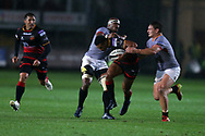 Ashton Hewitt of the Dragons is tackled by the Kings Michael Willemse ® and Andisa Ntsila. Guinness Pro14 rugby match, Dragons v Southern Kings at Rodney Parade in Newport, South Wales on Saturday 30th September 2017.<br /> pic by Andrew Orchard, Andrew Orchard sports photography.