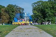 Arrival of the pilgrims at Jasna Góra sanctuary during the celebration of the assumption of Mary in August, Czestochowa, Poland 2018.