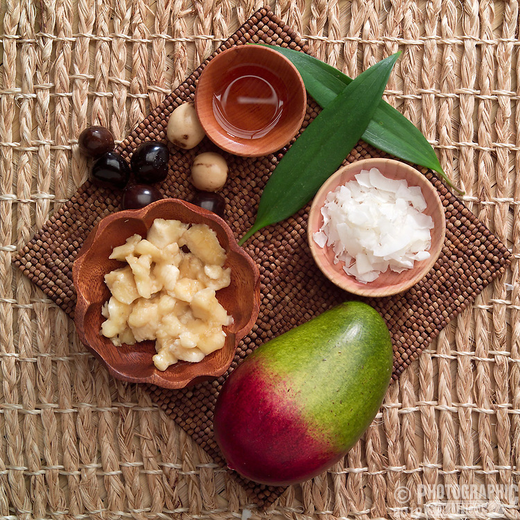 Fresh ingredients of coconut, papaya, ginger and some other stuff