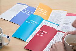 Selection of advice leaflets giving financial pension advice for planning for retirement,
