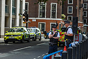 MET Police lockdown Home Office Marsham Street after a victim staggered into the Home Office reception looking for help after being stabbed in the street in central London on Thursday, 15 Aug 2019. (Photo/Vudi Xhymshiti)