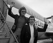 Red Hurley/Bendan Graham- Eurovision Song Contest 30/03/1976  Red Hurley/Brendan Graham- Eurovision Song Contest .30/03/1976.03/30/1976.30th March 1976.Red Hurley and Brendan Graham leave for the Eurovision song contest in The Hague, Netherlands   Red Hurley and composer Brendan J. Graham leave for the Eurovision song contest in The Hague, Netherlands. Their song 'When' would finish in 10th position.