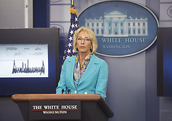 July 26, 2017 - Washington, District of Columbia, United States of America - United States Secretary of Education Betsy DeVos acknowledges the donation of US President Donald Trumps's quarterly salary to the Education Department at The White House in Washington, DC, July 26, 2017. .Credit: Chris Kleponis / CNP (Credit Image: © Chris Kleponis/CNP via ZUMA Wire)