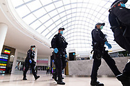 MELBOURNE, VIC - SEPTEMBER 20: Public Order Response officers are seen patrolling inside Chadstone Shopping Centre during the Freedom protest on September 20, 2020 in Melbourne, Australia. Freedom protests are being held in Melbourne every Saturday and Sunday in response to the governments COVID-19 restrictions and continuing removal of liberties despite new cases being on the decline. Victoria recorded a further 14 new cases overnight along with 5 deaths. (Photo by Mikko Robles/Speed Media)