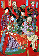 Japanese triptych print showing seated and standing world leaders gathered in a group. 1879.Painted by Chikanobu Hashimoto 1838-1912. Emperor of Italy, Emperor of Russia, Emperor of Austria, King Frois [Luis Frois, missionary from Portugal], King of Madagarasu, Queen of Madagarasu, King of Turkey