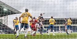 Falkirk's David McCracken scoring their fifth goal. <br /> Falkirk 6 v 0 Cowdenbeath, Scottish Championship game played at The Falkirk Stadium, 25/10/2014.