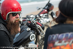 Jim Root from the Band Slipknot on a Blings Cycles  on the beach during Daytona Bike Week 75th Anniversary event. FL, USA. Thursday March 3, 2016.  Photography ©2016 Michael Lichter.