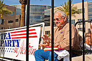 12 JUNE 2010 - PHOENIX, AZ: Arizona State Senator Russell Pearce sits on the stage at a Tea Party rally in support of Arizona SB 1070 Saturday. Pearce is the author of the bill and favors jailing undocumented immigrants. About 500 people, many from California and Florida, came to Bolin Memorial Park in Phoenix Saturday. The pro SB 1070 rally was sponsored by Tea Party.   PHOTO BY JACK KURTZ