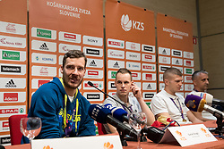 Goran Dragic, Klemen Prepelic, Edo Muric and Igor Kokoskov at press conference of KZS and Slovenian national baskteball team after winning Gold medal at Eurobasket 2017 - Istanbul on September 19, 2017 in Austria Trend Hotel, Ljubljana, Slovenia. Photo by Matic Klansek Velej / Sportida