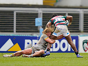 Wasps Hooker Tommy Taylor tackles Leicester Tigers wing Kini Murimurivalu during a Gallagher Premiership Round 10 Rugby Union match, Friday, Feb. 20, 2021, in Leicester, United Kingdom. (Steve Flynn/Image of Sport)