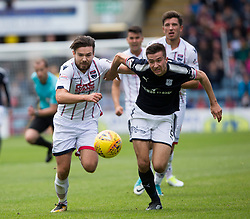 Ross County's Ryan Dow and Dundee's Cemeron Kerr. Dundee 1 v 2 Ross County, Scottish Premiership game played 5/8/2017 at Dundee's home ground Dens Park.