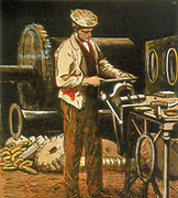 The Engineer using a file on an engine part held in a vise. Engineers made and maintained the steam engines and railway machinery used in manufacturing and transport. Chromolithograph from a children's book published in 1867. Colour