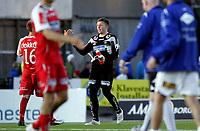 Fotball<br /> Adeccoligaen 2010<br /> 05.09.2010<br /> Sarspsborg v Bryne 0:0<br /> Foto: Morten Olsen, Digitalsport<br /> <br /> Anders Kristiansen - Bryne<br /> Gratuleres av Kai Ove Stokkeland (16) - Bryne