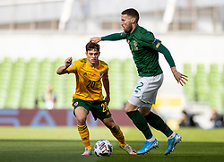 DUBLIN, REPUBLIC OF IRELAND - Sunday, October 11, 2020: Wales' Daniel James (L) and Republic of Ireland's Matt Doherty during the UEFA Nations League Group Stage League B Group 4 match between Republic of Ireland and Wales at the Aviva Stadium. The game ended in a 0-0 draw. (Pic by David Rawcliffe/Propaganda)