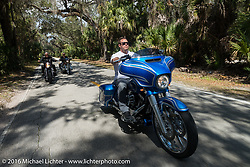 Zach Ness riding riding in Tamoka State Park with his grandfather Arlen Ness and father Cory during the Daytona Bike Week 75th Anniversary event. FL, USA. Monday March 7, 2016.  Photography ©2016 Michael Lichter.