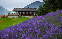 MIEMING - Tirol Oostenrijk ,  -  restaurant bij hole 9    Golf Park Mieminger Plateau.   COPYRIGHT KOEN SUYK