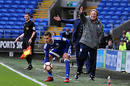 Cardiff City manager Neil Warnock (grey coat) looks frustrated as he shouts instructions as Joe Bennett (crouching) gathers the ball. The Emirates FA Cup, 3rd round match, Cardiff city v Fulham at the Cardiff city stadium in Cardiff, South Wales on Sunday 8th January 2017.<br /> pic by Carl Robertson, Andrew Orchard sports photography.