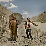 Wakhi encounter on the trail in Chitral. Yarkhun valley.