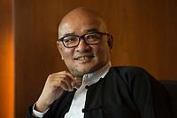 """19 JUN 2012, BERLIN/GERMANY:<br /> Maung Thura """"Zarganar"""",  Comedian, Komoediant, Film- und Fernsehschauspieler, Filmregisseur burmesischer Sprache und  Kritiker des Militaerregimes in Burma/Myanmar, waehrend einem Pressegespraech, Hotel Melia<br /> IMAGE: 20120619-01-046<br /> KEYWORDS Regimekritiker"""