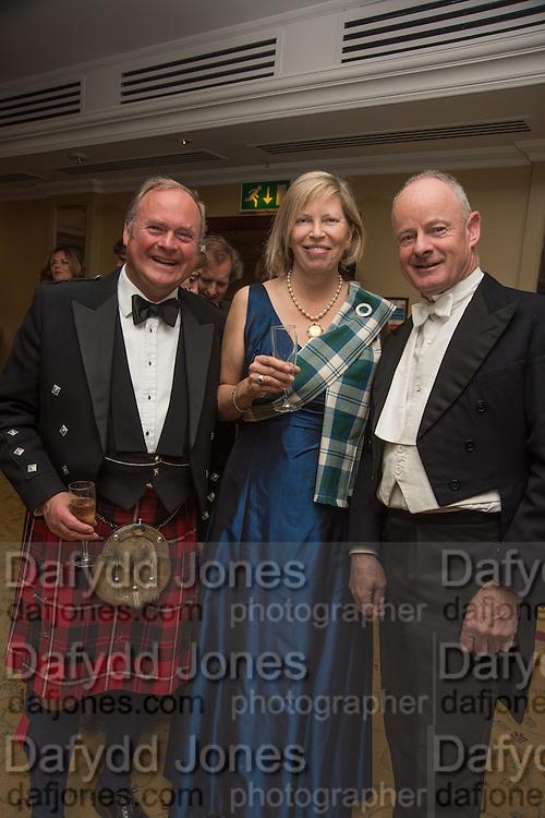 LORD BIDDULPH; LADY ALEX FOLEY; FRED VONCK, The Royal Caledonian Ball 2015. Grosvenor House. Park Lane, London. 1 May 2015.