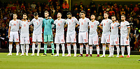 Football - 2018 / 2019 International Friendly - Wales vs. Spain<br /> <br /> Spain line up for minute's silence, at the Principality Stadium (Millennium Stadium).<br /> <br /> COLORSPORT/WINSTON BYNORTH